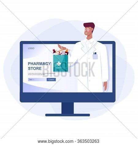 Online Pharmacy Web Banner On Phone Screen. Medicine