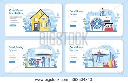 Air Conditioning Repair And Instalation Service Concept Set. Repairman