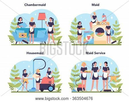 Maid Service, Cleaning Service, Apartment Cleaning Set. Woman
