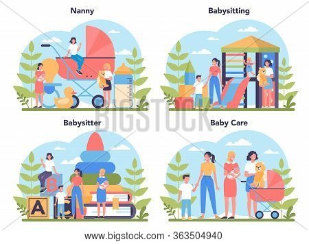 Babysitter Service Or Nanny Agency Concept Set. In-home Babysitter.