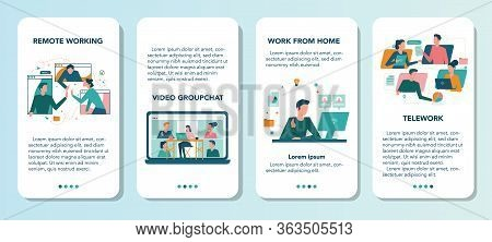 Remote Working Mobile Application Banner Set. Telework And Global