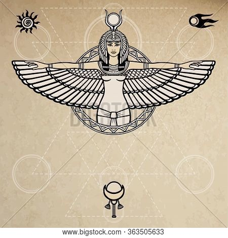 Animation Portrait Of The Ancient Egyptian Winged Goddess.  Space Symbols. Sacred Geometry. Vector I