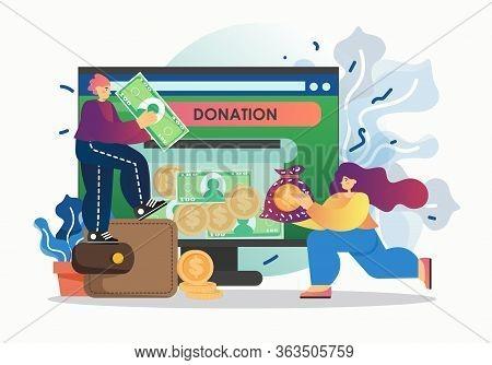 Online Donation, Vector Flat Style Design Illustration