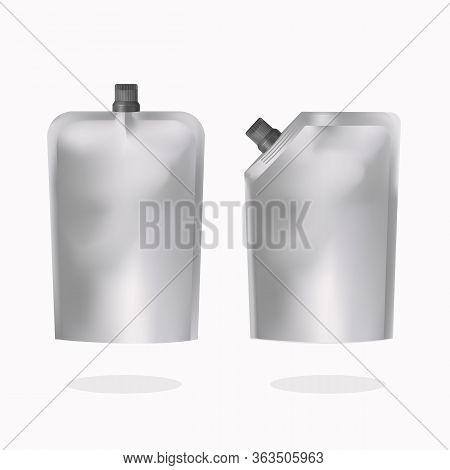 Doypack Plastic Bag Mock Up Set, Vector Isolated Illustration