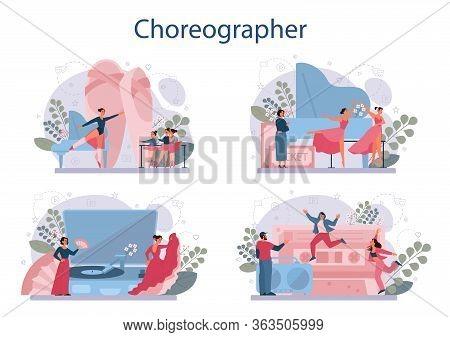 Dance Teacher Or Choreographer In Dance Studio Set. Dancing Courses