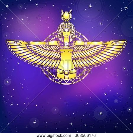 Animation Portrait Of The Ancient Egyptian Winged Goddess. Gold Imitation. Background - The Night St
