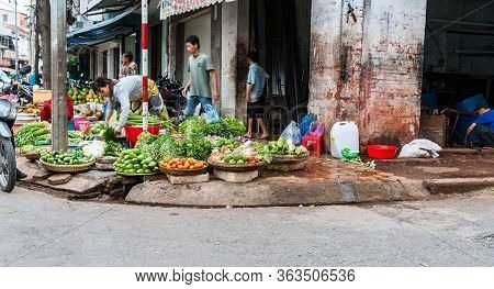 Can Tho Vietnam - October 14 2013; Typically Asian Street Corner Vegetable Market With Selection Of