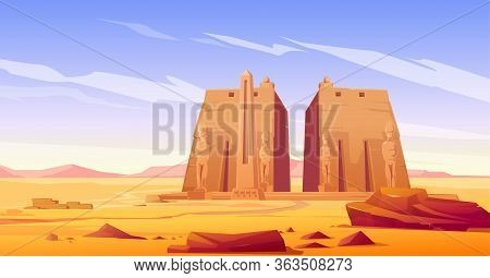 Ancient Egyptian Temple With Pharaoh Or God Statue And Obelisk. Vector Cartoon Landscape Of Desert I