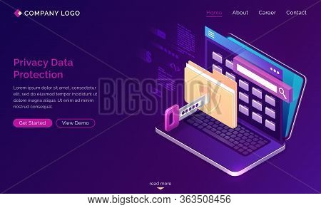 Privacy Data Protection Banner. Gdpr Concept. Vector Landing Page Of Digital Security Of Personal Da