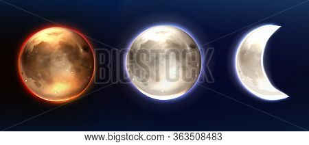 Realistic Moon, Lunar Full And Waning Phases. Earth Satellite, Phoebe Astrology Detailed Object With