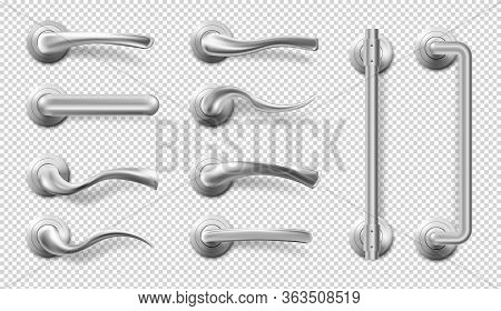 Metal Door Handles For Room Interior In Office Or Home. Vector Realistic Set Of Modern Chrome Lever