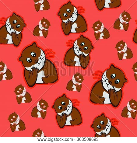 Funny Animals Otter Confused, Beaver Puzzled, Orange Background Perplexed, Nervous, Restless, Uneasy