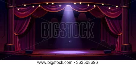Dark Theater Stage With Red Curtains, Columns And Spotlight In Center. Theatre Interior Empty Wooden