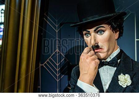 London, England, Uk - January 2, 2020: Waxwork Statues Of Charlie Chaplin Created By Madam Tussauds,