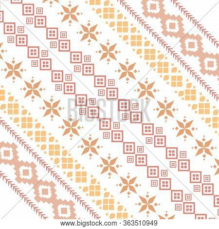 Beautiful Seamless Embroidery Design For Greeting Card.