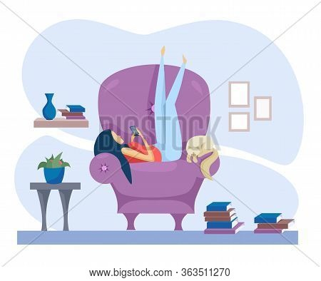 Flat Vector Illustration. The Girl Lies On A Chair And Deals With The Phone. There Are Many Books On
