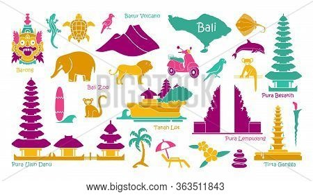 Bali, Indonesia Icons Set. Attractions, Flat Design. Tourism In Bali, Isolated Vector Illustration.