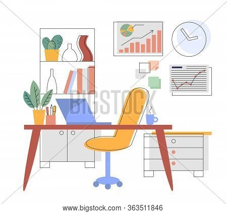 Workplace In The Office Or At Home. Flat Interior Illustration Without People