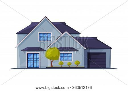 Cottage Facade, Modern Architecture Residential House Building, Country Real Estate Flat Vector Illu