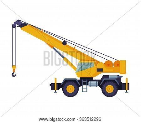 Construction Crane Truck, Heavy Machinery Transportation Service Vehicle Flat Vector Illustration
