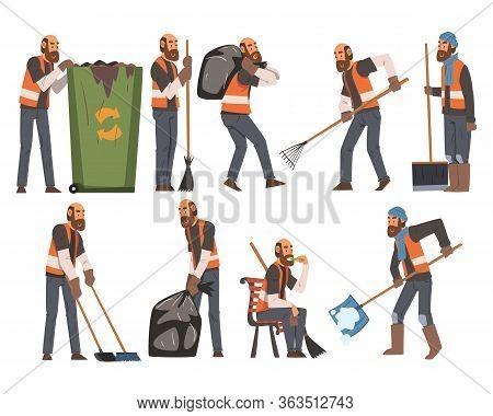 Man Janitor Sweeping And Cleaning Litter Set, Male Professional Cleaning Staff Character Wearing Ora