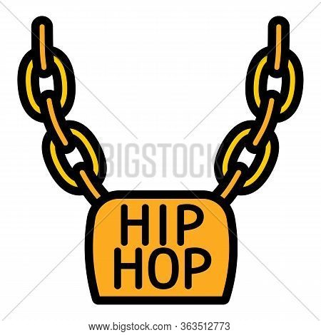 Hiphop Necklace Icon. Outline Hiphop Necklace Vector Icon For Web Design Isolated On White Backgroun
