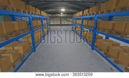 Cardboard Boxes Inside On Pallets Racks In Warehouse