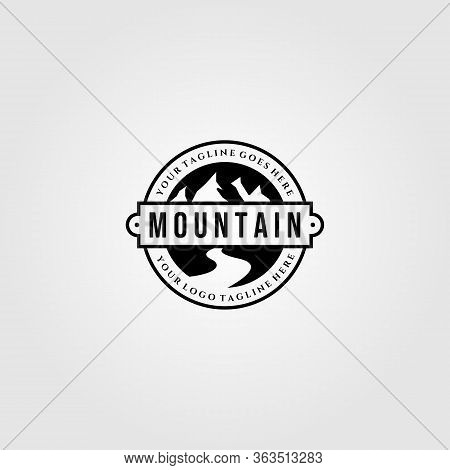 Vintage Mountain View Logo Designs With River Symbol Vector