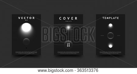Black And White Outer Space Cover Set. Abstract Cosmos Scenes With Glowing Stars, Planets, And Orbit