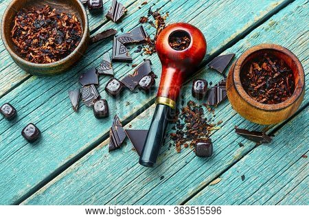 Smoking Pipe With Sweet Tobacco.