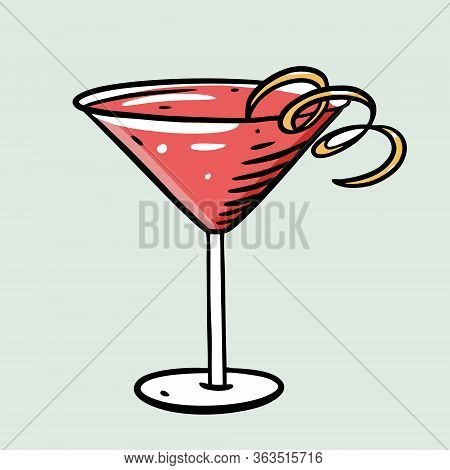 Cosmopolitan Cocktail. Cartoon Flat Vector Illustration. Isolated On Soft Green Background.