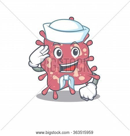 Sailor Cartoon Character Of Haemophilus Ducreyi With White Hat