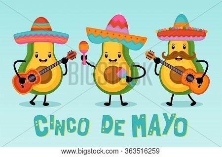 Cinco De Mayo Mexican Holiday Greeting Card Design Cute Funny Avocado Characters. Vector Illustratio