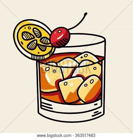 Old Fashioned Cocktail. Cartoon Flat Vector Illustration. Isolated On Soft Yellow Background.