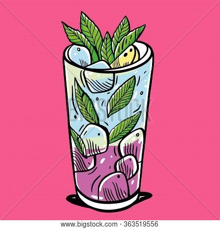 Cocktail Mojito With Mint And Ice Cube. Summer Drink. Cartoon Flat Vector Illustration. Isolated On