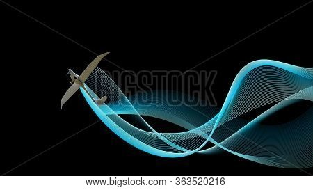 Ultralight Plane From Bottom With Blue Wave On Black. Illustration Background, Banner With Copy Spac