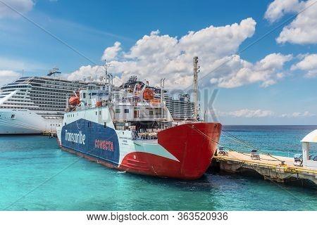 Cozumel, Mexico - April 24, 2019: Passenger/ro-ro Cargo Ship Bahia Del Espiritu Santo Docked In Trop