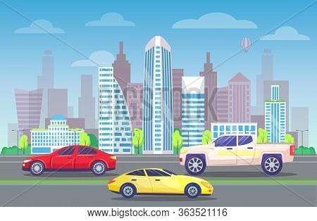 Developed City Center With Architecture. Roads With Vehicles. Traffic In Modern City Streets. Transp