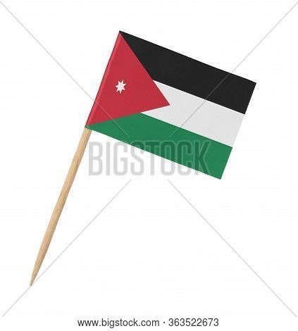 Small Paper Jordanian Flag On Wooden Stick, Isolated On White
