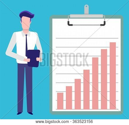 Information Presentation On Clipboard Vector, Man With Tablet Explaining Results And Given Data . Pr