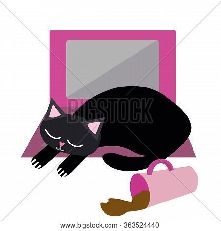 Cute Cartoon Pet Cat And Laptop Vector Illustration. Sleepy Black Kitty Snoozes On Keyboard With Spi