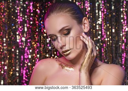 Beauty Portrait Of A High Fashion Model Woman In Colorful Bright Neon Lights Posing In Studio, Night
