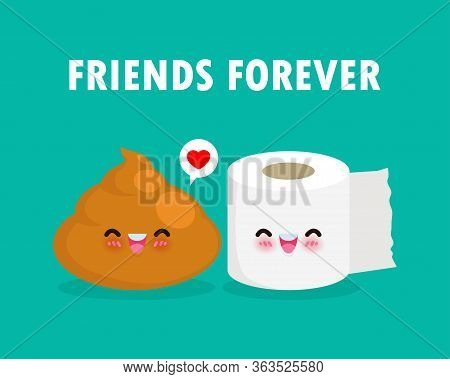 Cute Happy Poop And Toilet Paper Funny Cartoon Character. Image Smile Cartoon Chibi Toilet Paper And