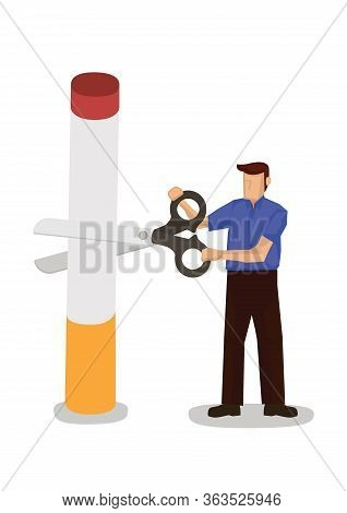 Man Cuts Cigarette With A Giant Scissor. Concept Of Quit Smoking Or Tobacco Addiction. Vector Illust