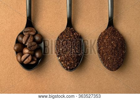 Coffee Beans And Different Grinding Coffee - Coarse Coffee, Finely Ground Coffee In Black Spoons. To