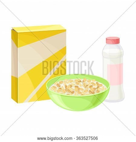 Breakfast Crunchy Cereal Poured In Bowl With Milk Or Yogurt Vector Illustration