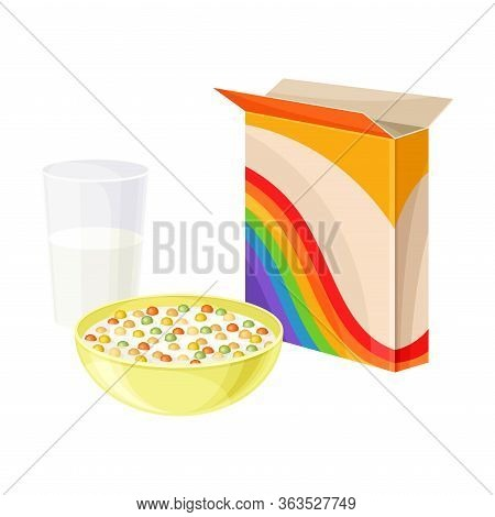 Bowl Of Crispy Cereal Or Muesli With Glass Of Milk Rested Nearby Vector Composition
