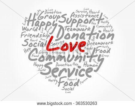 Love Heart Word Cloud, Emotion, Marriage,valentine, Friendship Concept Background