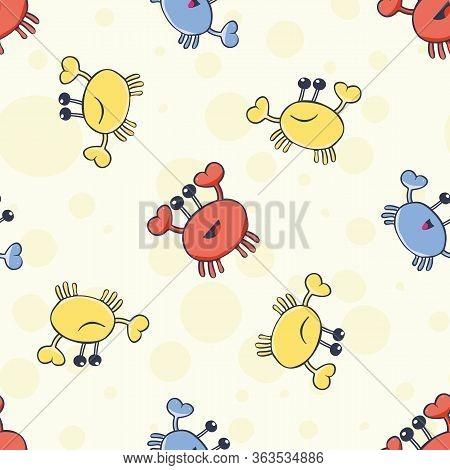 Happy Crab Vector Seamless Pattern Background. Cartoon Crustacean On Bubble Yellow Backdrop. Marine