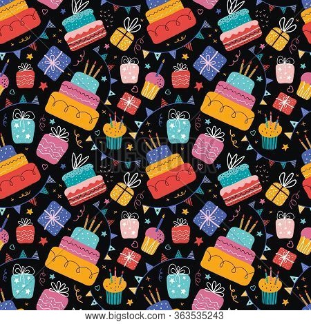 Birthday Cream Cakes, Gift Boxes, Garlands Flat Vector Seamless Pattern. Hand Drawn Background For A